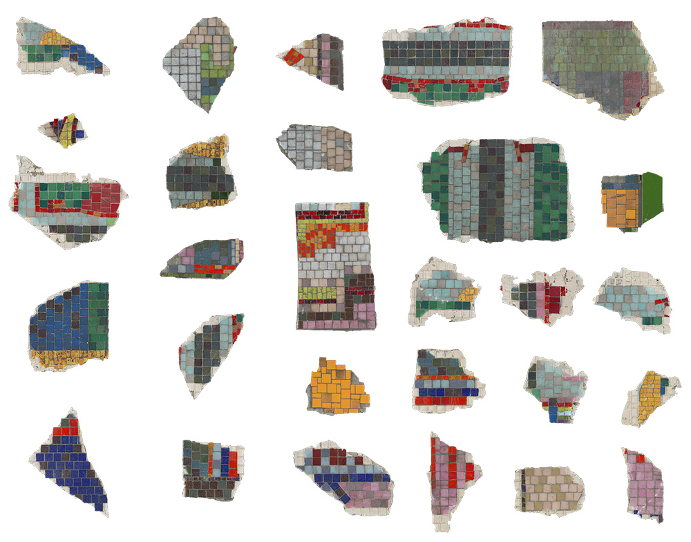 Montage of mosiac pieces made during the digitisation process