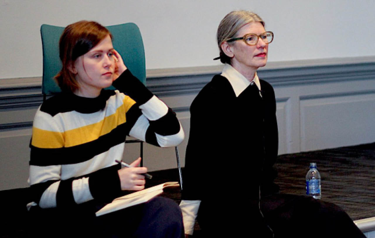 Sophie Collins and Lisa Robertson presenting at the School of Art Friday Lecture series
