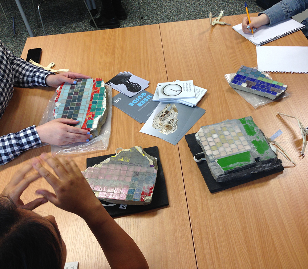 Paolozzi mosaic handling session at University of Edinburgh's Centre for Research Collections