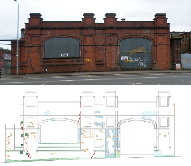 Mapping the damage on the elevation of Howden Engineering works in Glasgow part of the Conservation Technology Module