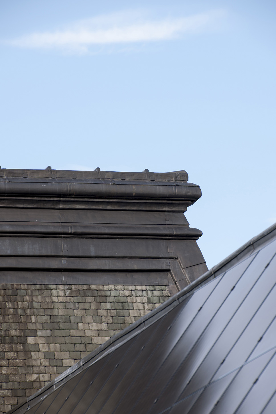 Detail of the new lead work on the Main Building roof