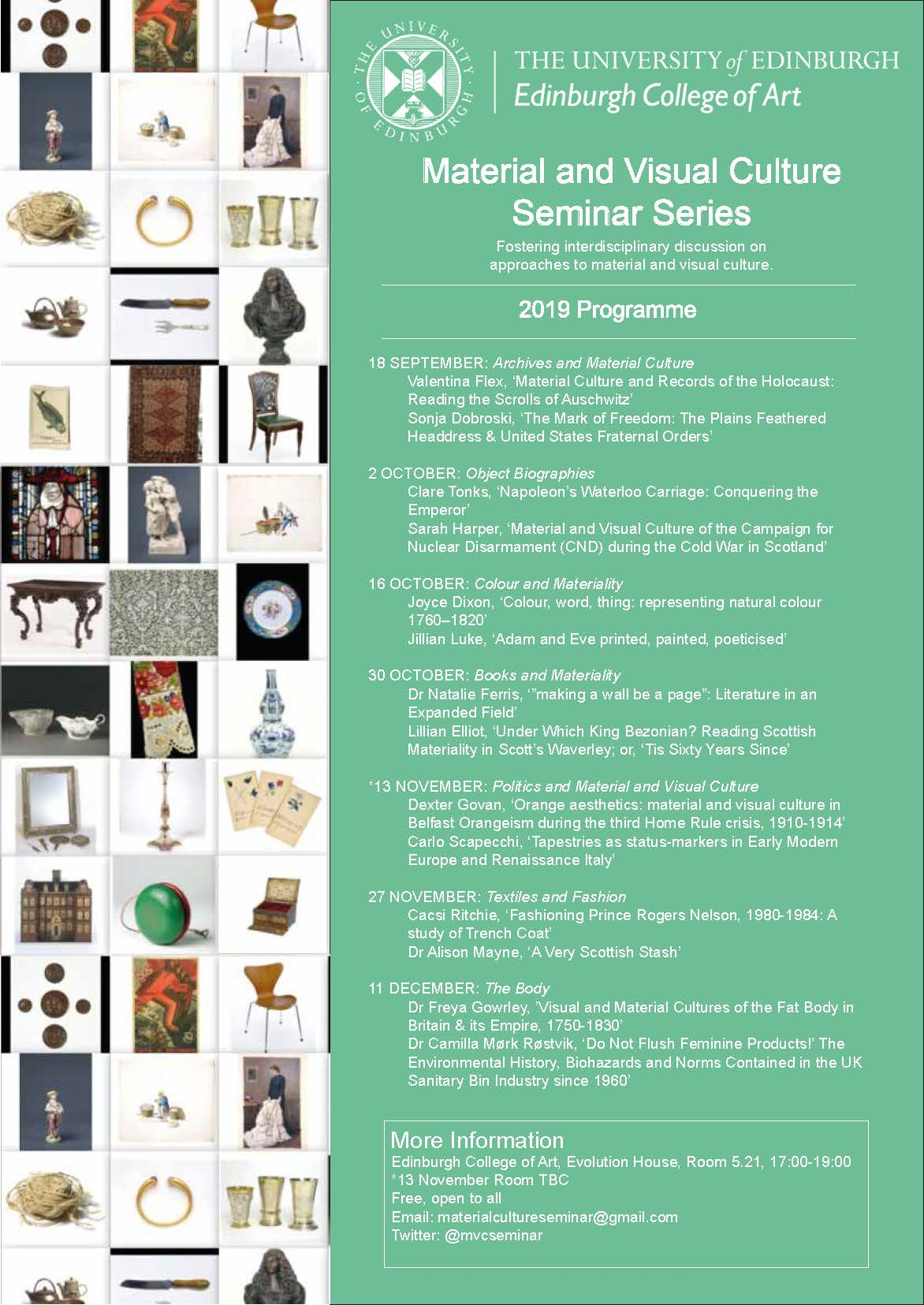 Material and Visual Culture Seminar Series, 2019/20, Semester 1