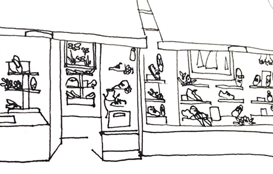 Line drawing of a shop front