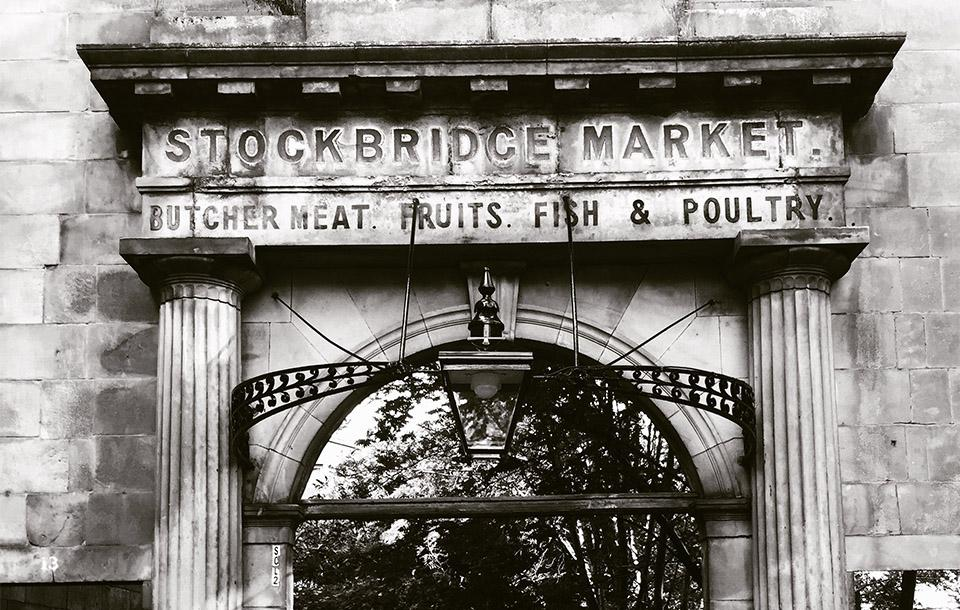 A photo of the entrance to the historic Stockbridge Market on the north side of the city