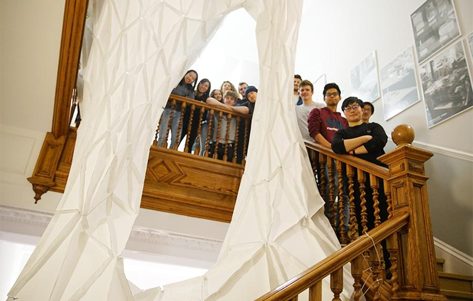 The students taking the 'Design Thinking and Digital Fabrication' elective gathered on the staircase at Minto House
