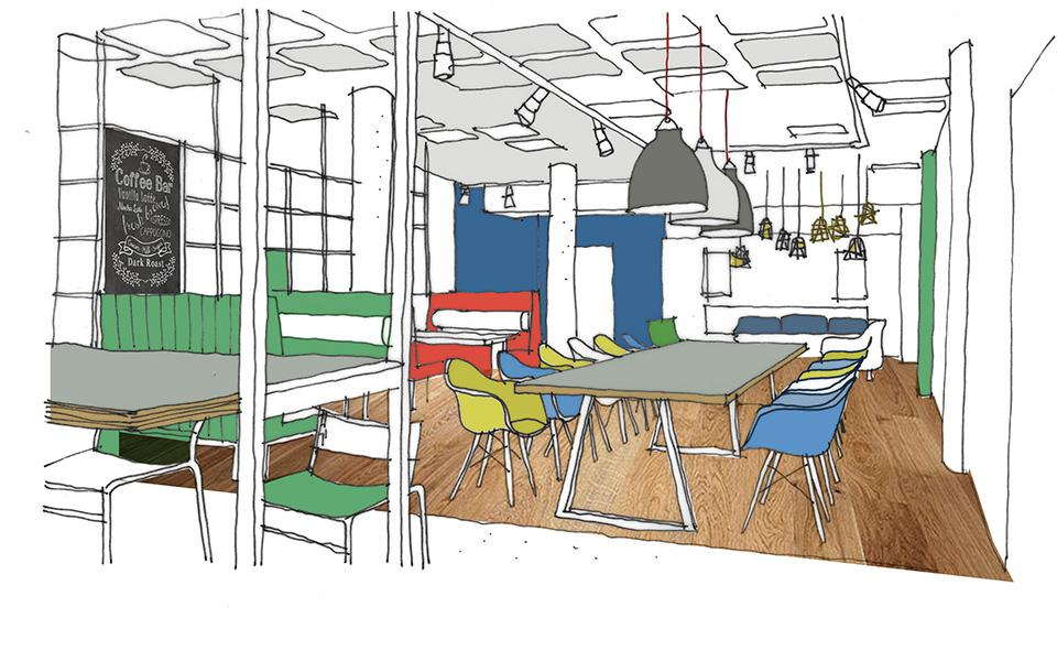 A sketch showing initial design ideas for the ECA café at Lauriston Place
