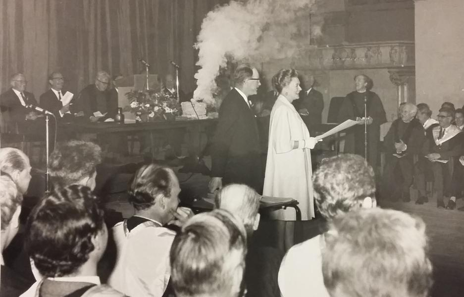 Exploding cake during Norman Reid's presentation of diplomas, 1966
