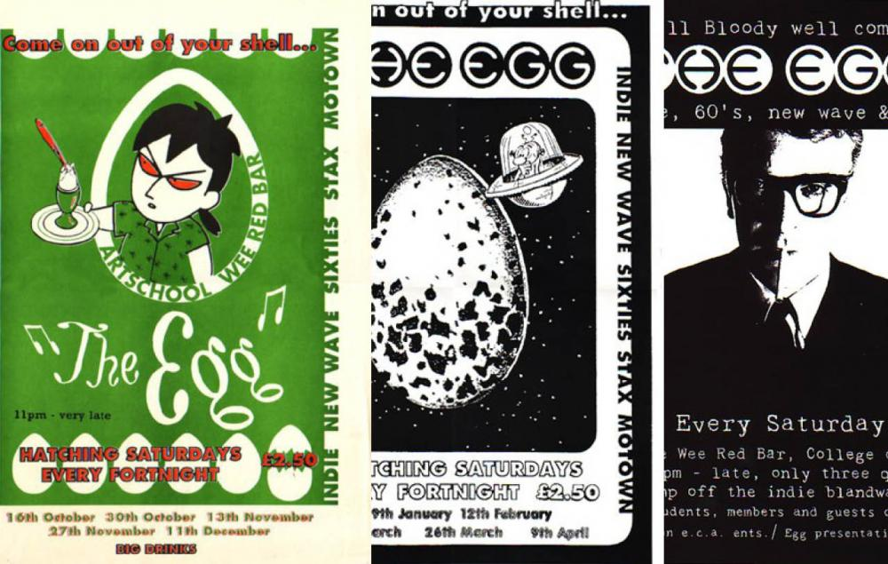 A selection of The Egg posters, including the first ever poster (Left)