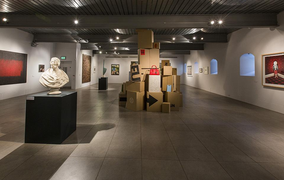 Photo of an exhibition at the Dovecot Gallery