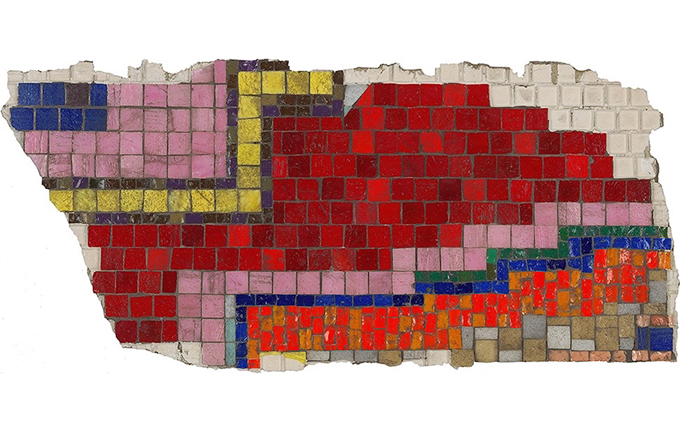 Photo of a fragment of a colourful mosaic