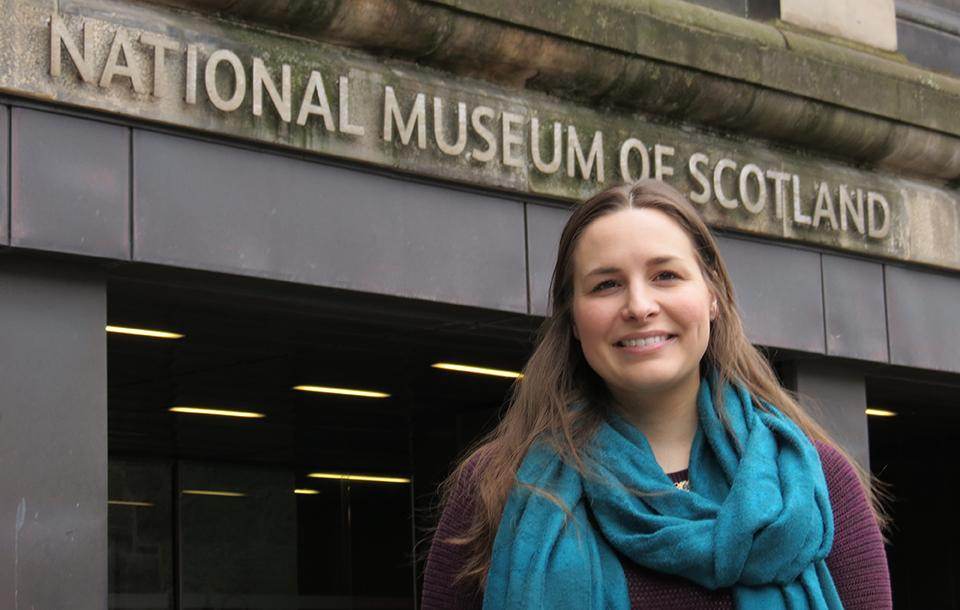 Photo of a student outside the National Museum of Scotland