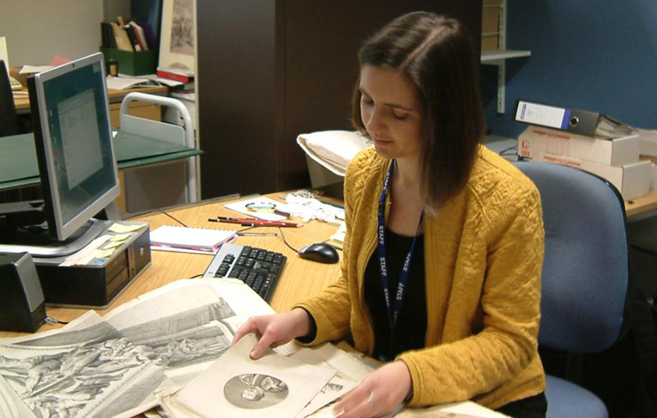 Photo of an intern in the National Library of Scotland