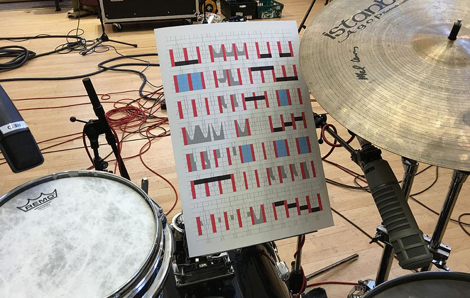 Photo of a drum kit and a graphic score