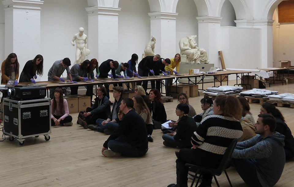 Students in the Sculpture Court at E C A