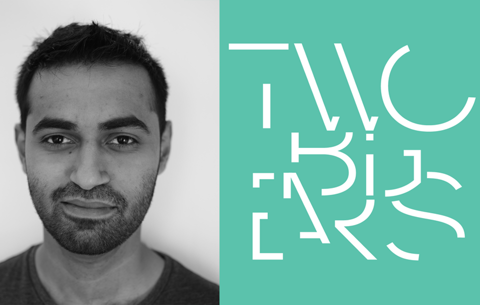 Photo of Varun Nair with Two Big Ears logo