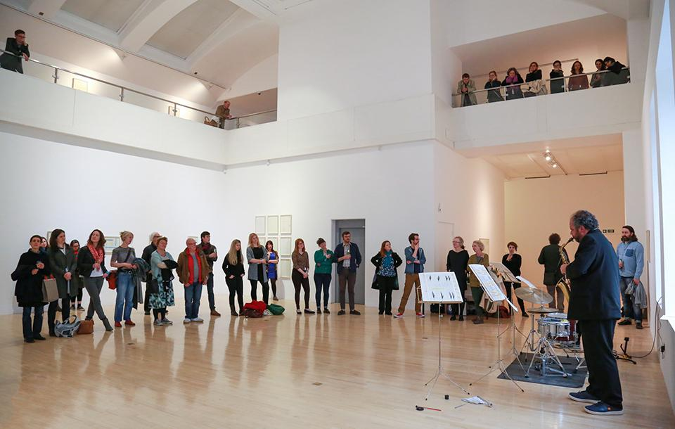 Photo of an exhibition and performance at Talbot Rice Gallery