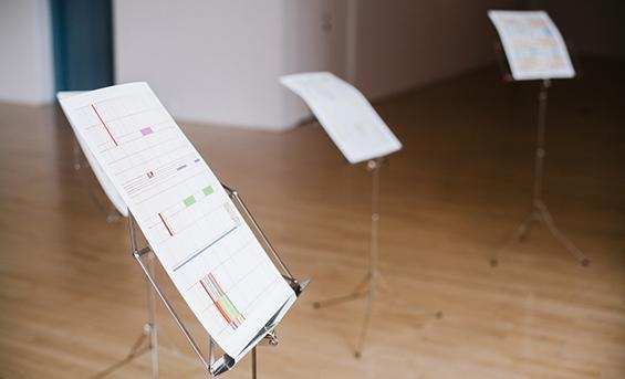 Photo of a graphic score on a music stand
