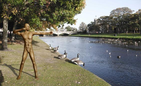 """The Archer"" on the Esk riverbank, Musselburgh"