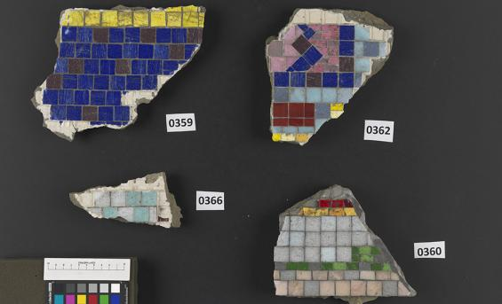 Numbered fragments of the Paolozzi mosiac