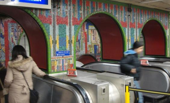 The mosiac archway at Tottenham Court Road tube station