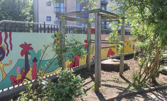Colourful mural in Tollcross Primary School