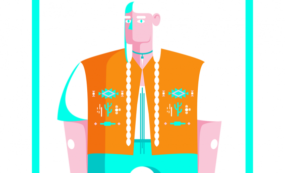 Illustration in orange jacket
