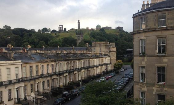 The view from Lindsey's new accommodation with Calton Hill in the distance