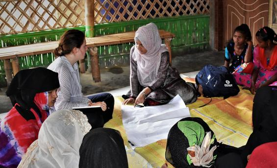 Working with a translator, Imogen held group discussion with women to understand their needs.
