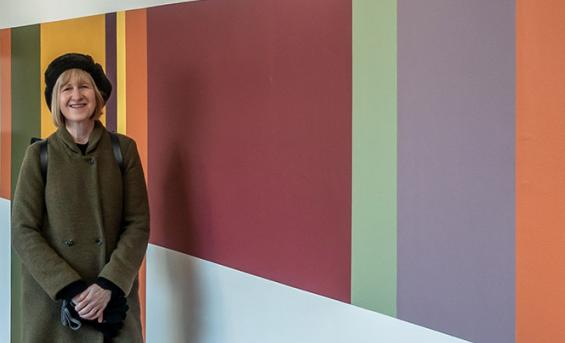 Professor Fiona McLachlan beside one of the colour installations