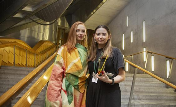 Student Emily Martin with the model who wore her design
