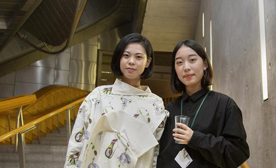 Student Wen Wen Yang and the model who wore her creation